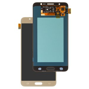 LCD compatible with Samsung J710 Galaxy J7 (2016), (golden, with touchscreen, (OLED), High Copy)