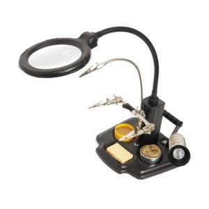 Soporte para para cautín con lente de aumento y sujetador para placas PCB  Pro'sKit SN-396